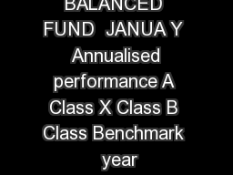 PRUDENTIAL BALANCED FUND  JANUA Y  Annualised performance A Class X Class B Class Benchmark  year