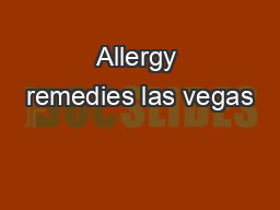 Allergy remedies las vegas