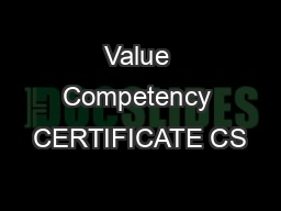 Value Competency CERTIFICATE CS