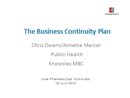 The Business Continuity Plan