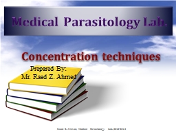 Medical Parasitology Lab. PowerPoint PPT Presentation