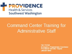 Command Center Training for Administrative Staff