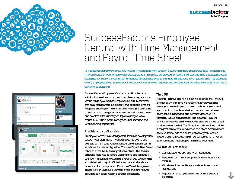 SuccessFactors Employee Central with Time Management and Payroll Time