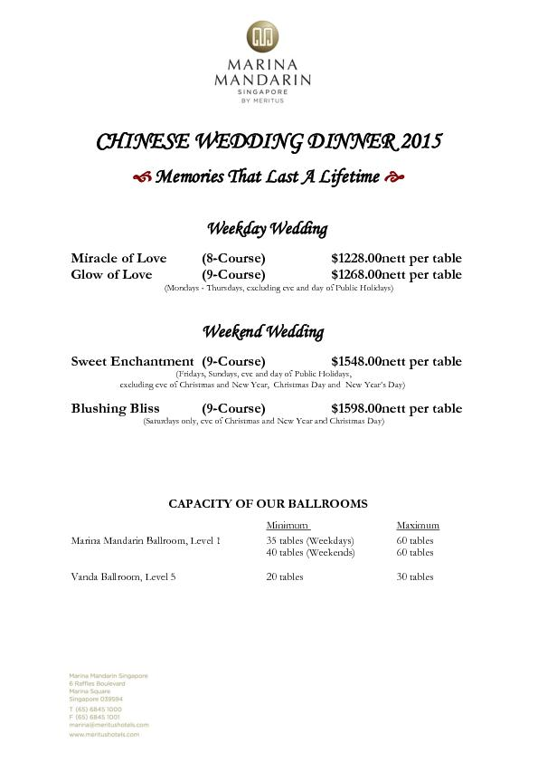 CHINESE WEDDING DINNER
