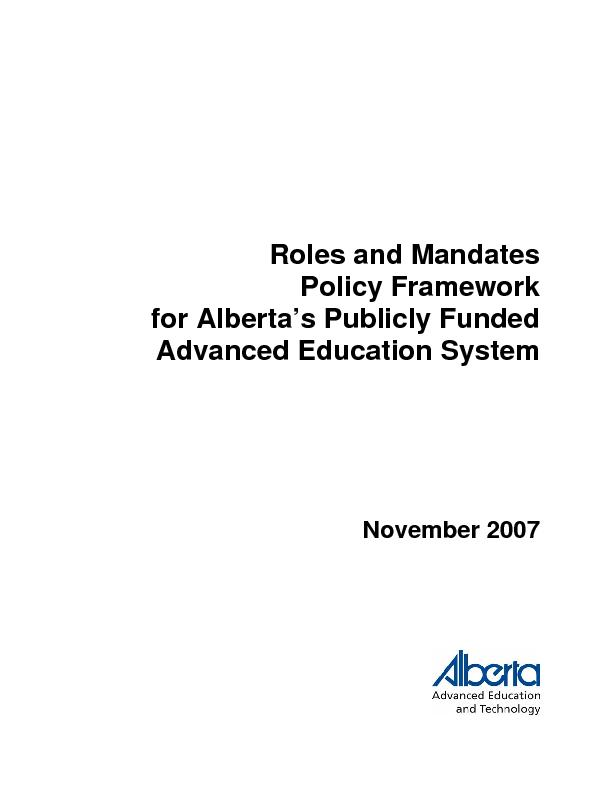 Roles and Mandates Policy Framework for Alberta's Publicly Funded