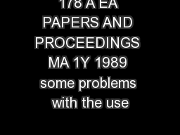 178 A EA PAPERS AND PROCEEDINGS MA 1Y 1989 some problems with the use