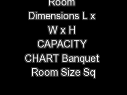 Room Dimensions L x W x H CAPACITY CHART Banquet Room Size Sq PowerPoint PPT Presentation