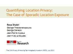 Quantifying Location Privacy: