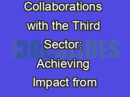 Collaborations with the Third Sector: Achieving Impact from PowerPoint PPT Presentation