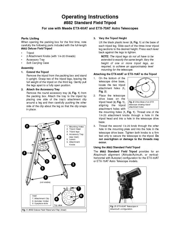 Parts Listing#882 Deluxe Field Tripod PowerPoint PPT Presentation