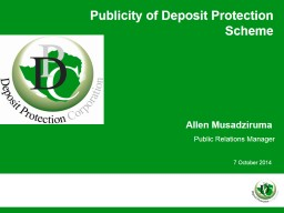 Publicity of Deposit Protection Scheme PowerPoint PPT Presentation