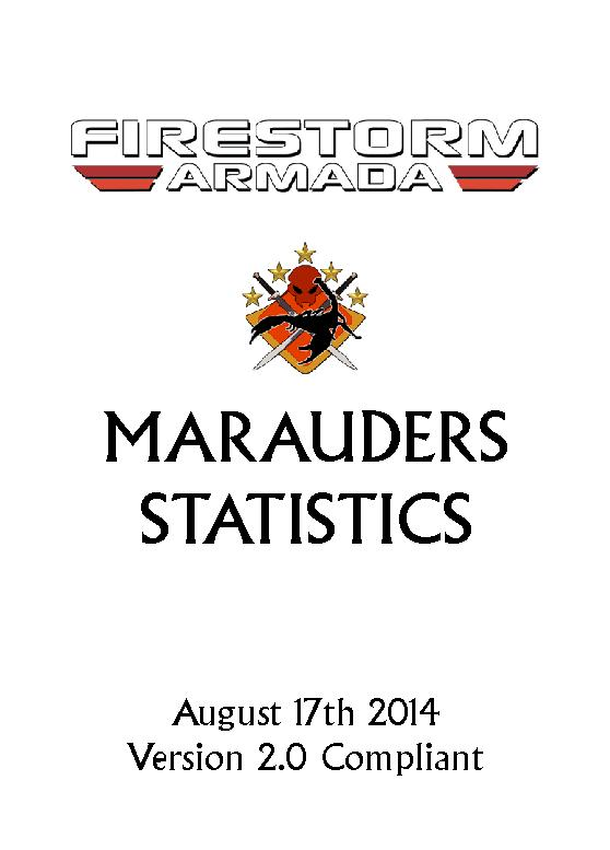 MARAUDERS STATISTICSAugust 17th 2014Version 2.0 Compliant