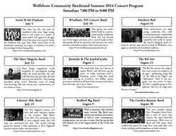 Friends of the Wolfeboro Community Bandstand Summer  Concert Program Our th Season Friends of the Wolfeboro Community Bandstand dedicate this concert season in memory of Hale Reed an original member