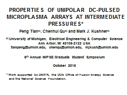 PROPERTIES OF UNIPOLAR DC-PULSED MICROPLASMA ARRAYS AT INTE