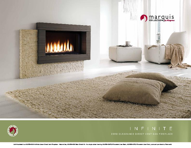 Unit Illustrated is a MQRB4436N Infinite Linear Direct Vent Fireplace