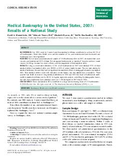 CLINICAL RESEARCH STUDY Medical Bankruptcy in the United States  Results of a National Study David U