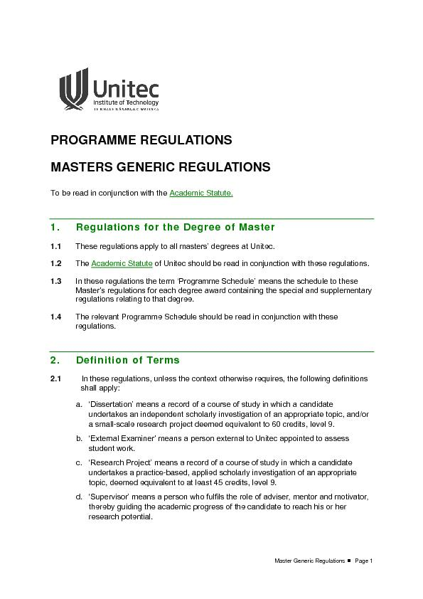 Master Generic Regulations