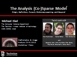 The Analysis (Co-)Sparse Model
