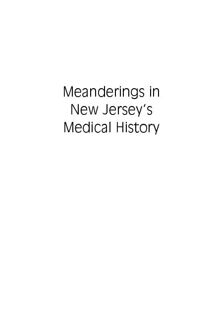 Meanderings in New Jerseys Medical History