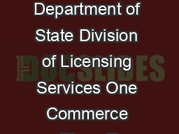 Rev  Page  of  Address NYS Department of State Division of Licensing Services One Commerce Plaza P
