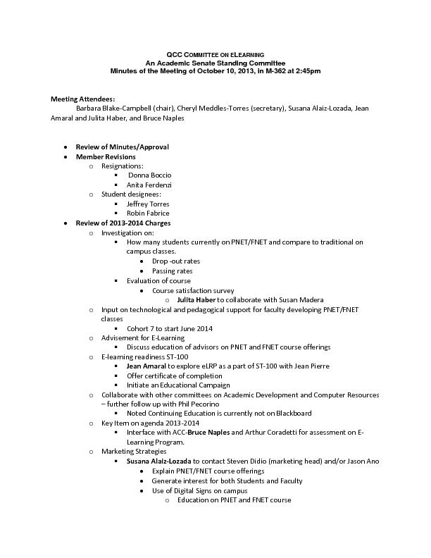 EARNING An Academic Senate Standing Committee Minutes of the Meeting o