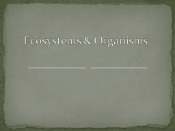 Ecosystems & Organisms PowerPoint PPT Presentation