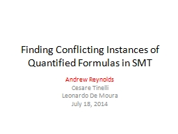Finding Conflicting Instances of Quantified Formulas in SMT PowerPoint PPT Presentation