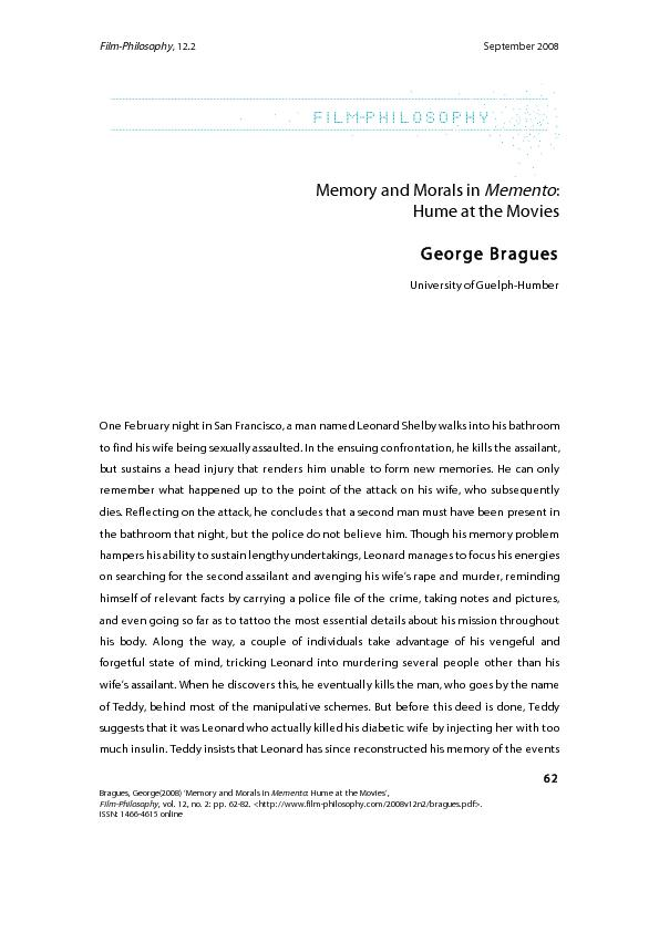Memory and Morals in Memento:  Hume at the Movies  George Bragues  Uni
