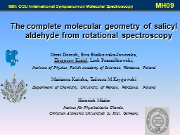 The complete molecular geometry of salicyl aldehyde from ro PowerPoint PPT Presentation