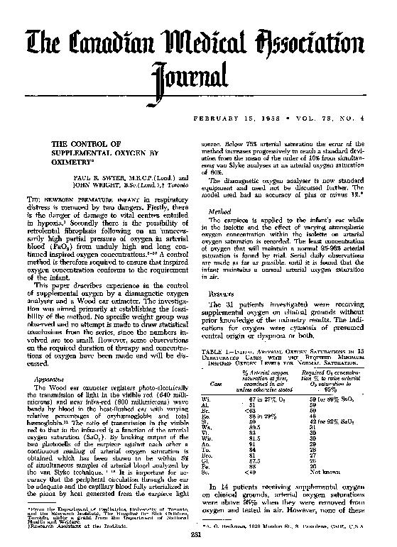 The(rnialIlIbicatioFEBRUARY15,1958*VOL.78,NO.4THECONTROLOFSUPPLEMENTAL