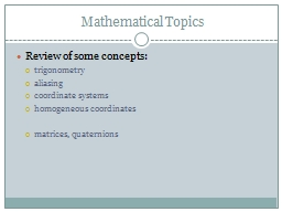 Mathematical Topics PowerPoint PPT Presentation