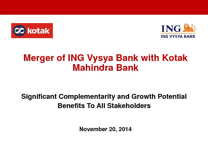 Merger of ING VysyaBank with Kotak Mahindra BankSignificant Complement