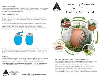 Harvesting rain water with your castilla rain barrel