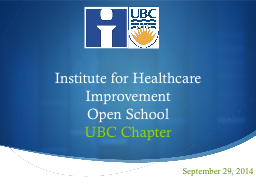 Institute for Healthcare Improvement PowerPoint PPT Presentation