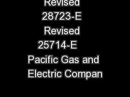 Revised  28723-E  Revised  25714-E     Pacific Gas and Electric Compan PowerPoint PPT Presentation