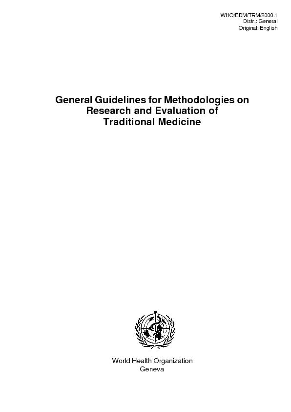 General Guidelines for Methodologies on Research and Evaluation of Tra