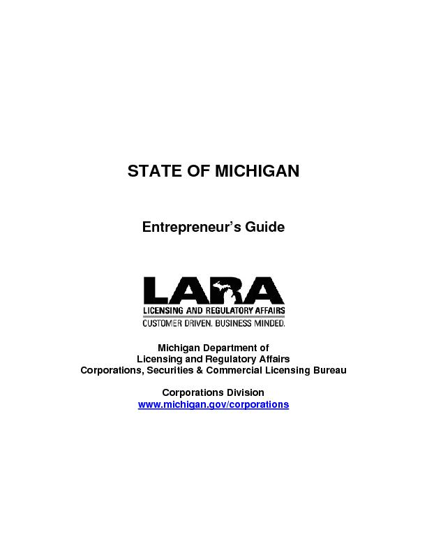Licensing and Regulatory Affairs www.michigan.gov/corporations ...