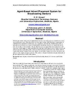 Issues in Informing Science and Information Technol ogy Volume   AgentBased Adve