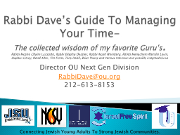 Rabbi Dave's Guide To Managing Your Time-