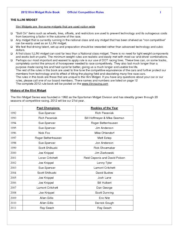 2012 Illini Midget Rule Book   Official Competition Rules