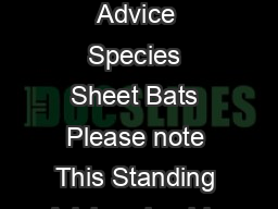 BAT Standing Advice Species Sheet Bats Please note This Standing Advice should n