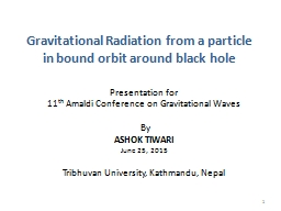 Gravitational Radiation from a particle in bound orbit arou
