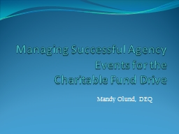 Managing Successful Agency Events for the
