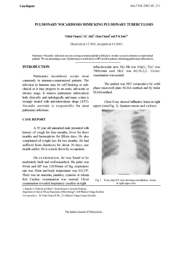 PULMONARY NOCARDIOSIS MIMICKING PULMONARY TUBERCULOSIS
