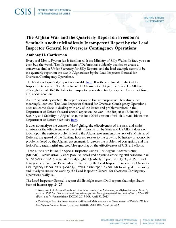 The Afghan War and the Quarterly Report on Freedom's