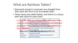 What are Rainbow Tables? PowerPoint PPT Presentation