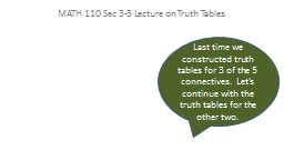 MATH 110 Sec 3-3 Lecture on Truth Tables