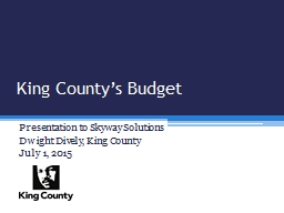 King County's Budget PowerPoint PPT Presentation