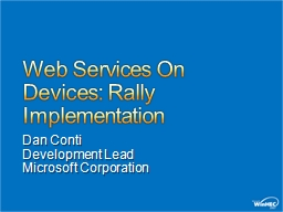 Web Services On Devices: Rally Implementation
