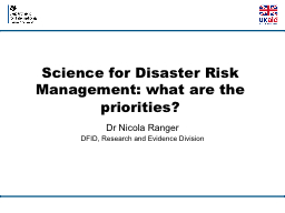 Science for Disaster Risk Management: what are the prioriti